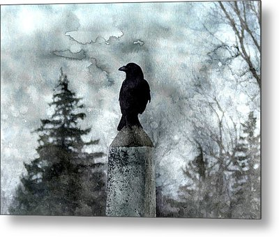 Crow On A Obelisk In Winter Metal Print