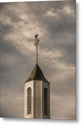 Metal Print featuring the photograph Crow On Steeple by Richard Rizzo