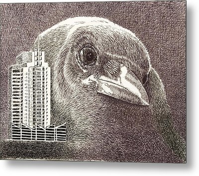 Crow Over Casino Windsor Metal Print