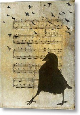 Crow Strut Music Sheet Metal Print