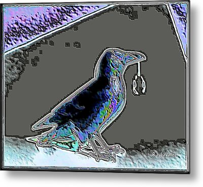 Crow With Crystal 2 Metal Print