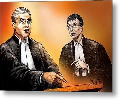 Crown Michael Carnegie Versus Defence Lawyer Dirk Derstine At The Rafferty Trial Metal Print by Alex Tavshunsky