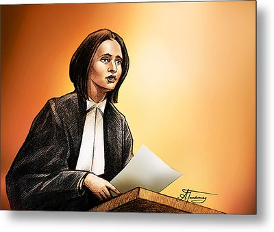 Metal Print featuring the painting Crown Stephanie Venne Reads Daryn's Statement At The Rafferty's Sentencing by Alex Tavshunsky