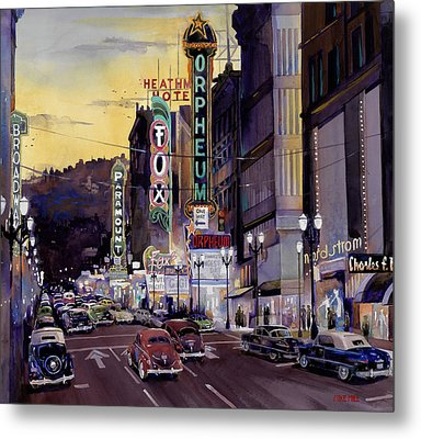 Crusin' Broadway In The Fifties Metal Print by Mike Hill