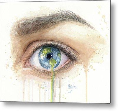Crying Earth Eye Metal Print