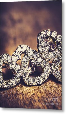 Crystal Heart Earrings Metal Print by Jorgo Photography - Wall Art Gallery