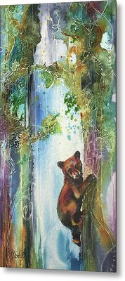 Metal Print featuring the painting Cub Bear Climbing by Christy Freeman