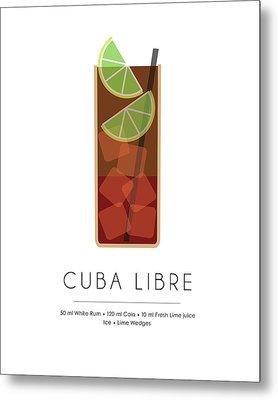Cuba Libre Classic Cocktail - Minimalist Print Metal Print