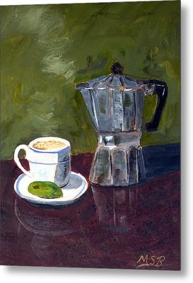 Cuban Coffee And Lime Green Metal Print by Maria Soto Robbins