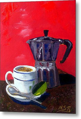 Cuban Coffee And Lime Red Metal Print by Maria Soto Robbins