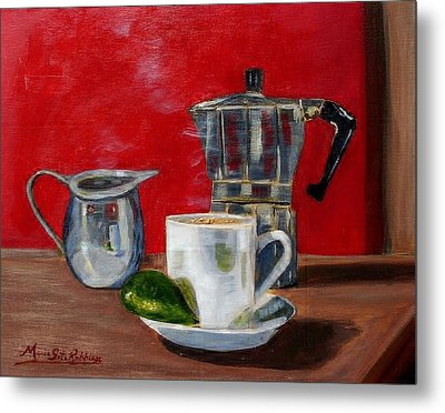 Cuban Coffee Lime And Creamer Metal Print by Maria Soto Robbins