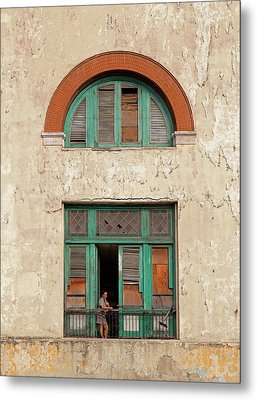 Cuban Woman On San Pedro Balcony Havana Cuba Metal Print by Charles Harden