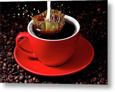 Cup Of Coffee With Splash Metal Print by Pics For Merch