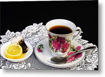 Cup Of Tea Please Metal Print by Trudy Wilkerson