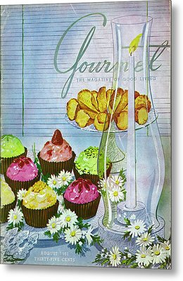 Cupcakes And Gaufrettes Beside A Candle Metal Print by Henry Stahlhut