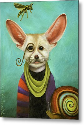 Curious As A Fox Metal Print by Leah Saulnier The Painting Maniac