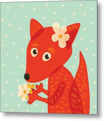 Cute Pretty Fox With Flowers Metal Print by Boriana Giormova