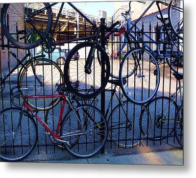 Cycle Fence Metal Print by Anna Villarreal Garbis