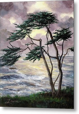 Cypress Tree Just Before The Rain Metal Print by Laura Iverson