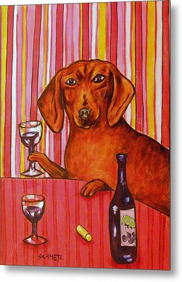 Dachshund At The Wine Bar Metal Print by Jay  Schmetz