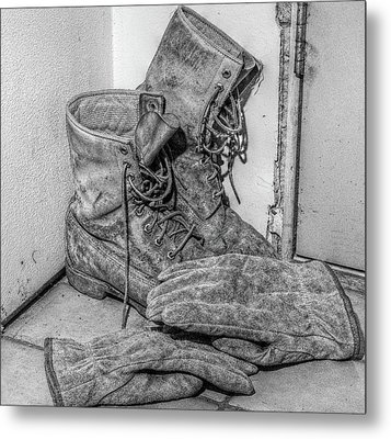Dads Boots Metal Print by Randy Steele