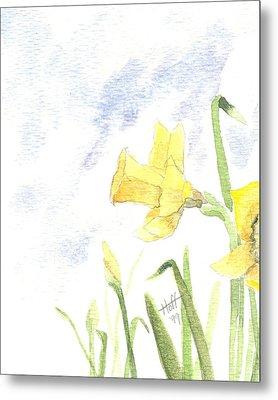 Daffodils Metal Print by Denise   Hoff