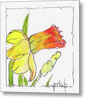 Metal Print featuring the painting Daffodils In January by Pat Katz
