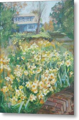 Daffodils On The Corner Metal Print by Carol Strickland