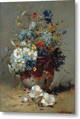 Daisies And Cornflowers Metal Print by Eugene Henri Cauchois
