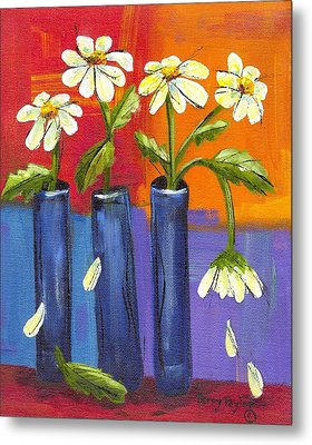 Metal Print featuring the painting Daisies In Blue Vases by Terry Taylor
