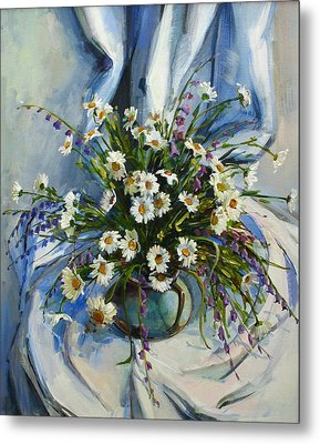 Metal Print featuring the painting Daisies by Tigran Ghulyan