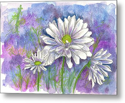 Metal Print featuring the painting Daisy Three by Cathie Richardson