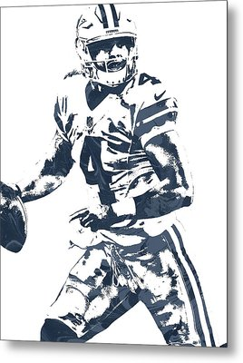 Dak Prescott Dallas Cowboys Pixel Art 3 Metal Print by Joe Hamilton
