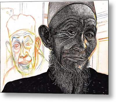 Metal Print featuring the drawing Dalai Happily Happened Upon by Al Goldfarb