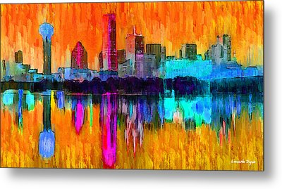 Dallas Skyline 2 - Da Metal Print by Leonardo Digenio