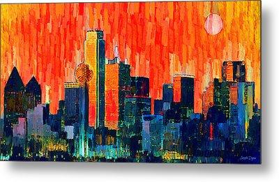 Dallas Skyline 68 - Da Metal Print