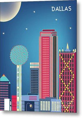 Dallas Texas Vertical Skyline - Nighttime Metal Print