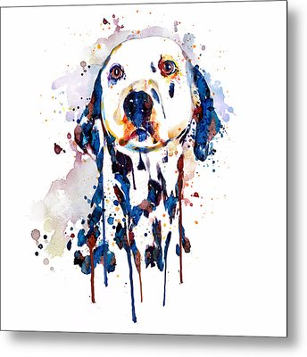 Metal Print featuring the mixed media Dalmatian Head by Marian Voicu