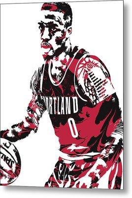Damian Lillard Portland Trail Blazers Pixel Art 10 Metal Print