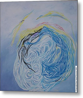 Metal Print featuring the painting Dance In The Wave by Sima Amid Wewetzer