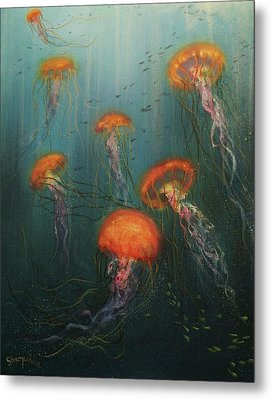 Dance Of The Jellyfish Metal Print by Tom Shropshire