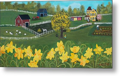 Metal Print featuring the painting Dancing Daffodils by Virginia Coyle