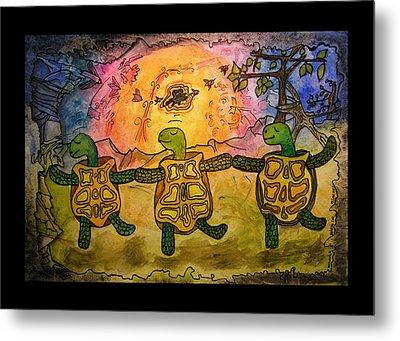 Dancing Turtles Metal Print