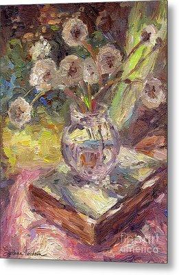 Dandelions Flowers In A Vase Sunny Still Life Painting Metal Print by Svetlana Novikova