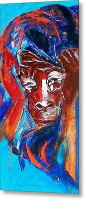 Darfur - She Cries Metal Print by Valerie Wolf