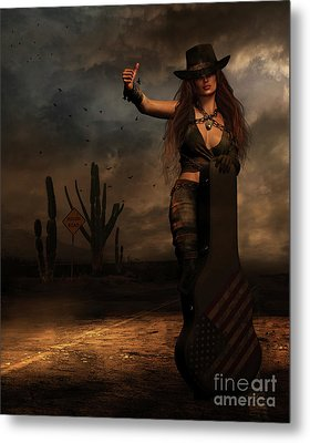 Dark Desert Highway Metal Print by Shanina Conway
