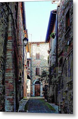 Dark Passageway In Panicale Metal Print