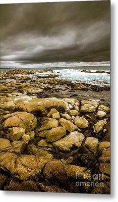 Dark Skies On Ocean Shores Metal Print by Jorgo Photography - Wall Art Gallery