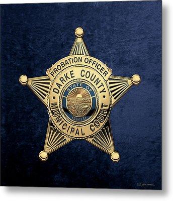 Darke County Municipal Court - Probation Officer Badge Over Blue Velvet Metal Print