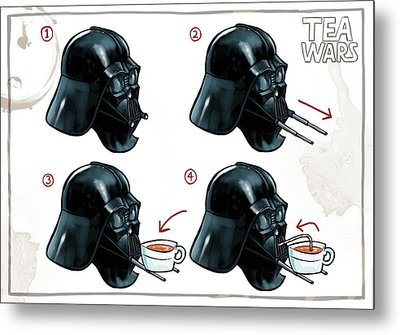 Metal Print featuring the digital art Darth Vader Tea Drinking Star Wars by Martin Davey